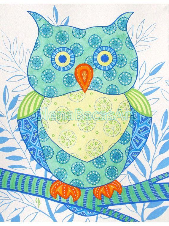 """Owl Painting Kids Room Decor Watercolor Gouache ORIGINAL Illustration 11""""x14"""" Sale"""