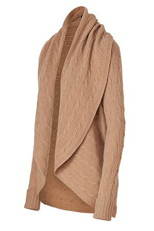 RALPH LAUREN  Camel Classic Cable Wool-Cashmere Circle Cardigan  $495