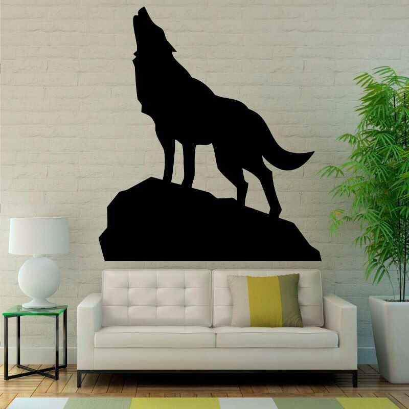 The Wolf Is Howling Wall Stickers Animals Wall Vinyl Sticker Home Art Decor Decals Living Room Water