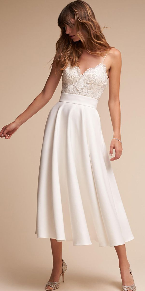Graceful Lace & Acetate Satin Spaghetti Straps Neckline A-line Tea-length Wedding Dress #summerdinneroutfits