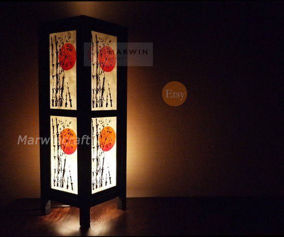 Asian Oriental Bamboo Sunset Japanese Lamp Zen Bedside Lamp Floor
