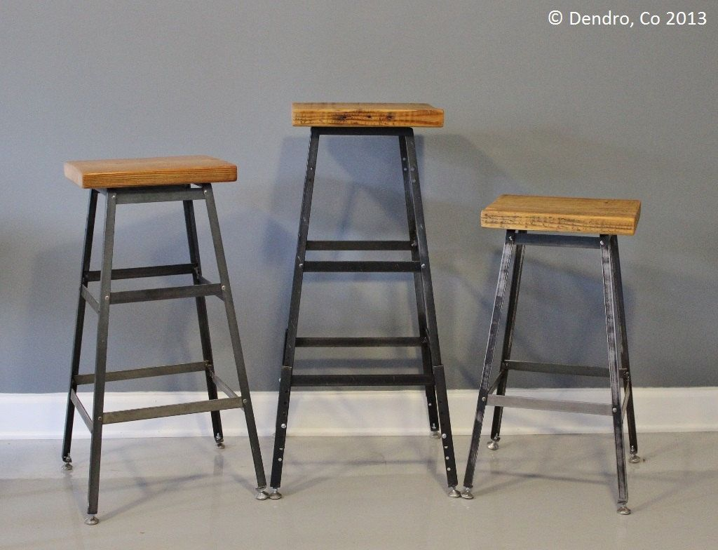 Industrial Design Bar Stools Reclaimed Urban Wood Industrial Bar Stool Or Chair By
