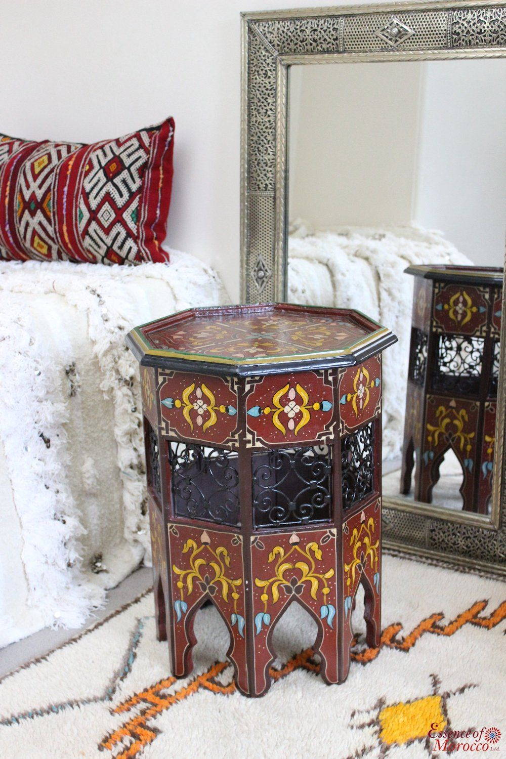 Moroccan Zouak Side Table Moucharaby Fretwork Hand Painted Wood Brown Zt9 Side Table Hand Painted Wood Arabic Decor