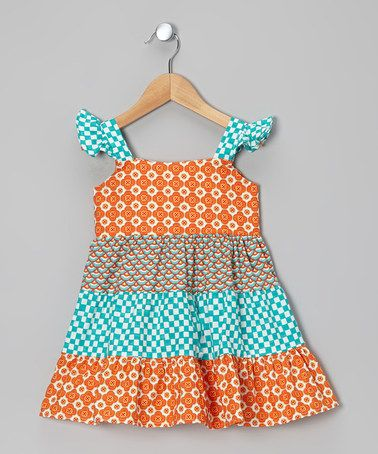 4f72924d1e46b Take a look at this Orange & Turquoise Flower Tier Dress - Toddler & Girls  by Calico Monkey on #zulily today!