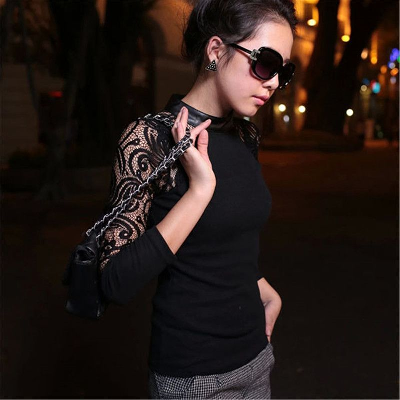 2017 Fashion Women Female Sexy Lace Crew Neck Hollow Out Long Sleeve Slim Knitwear Party Club Wear Base Sweater New