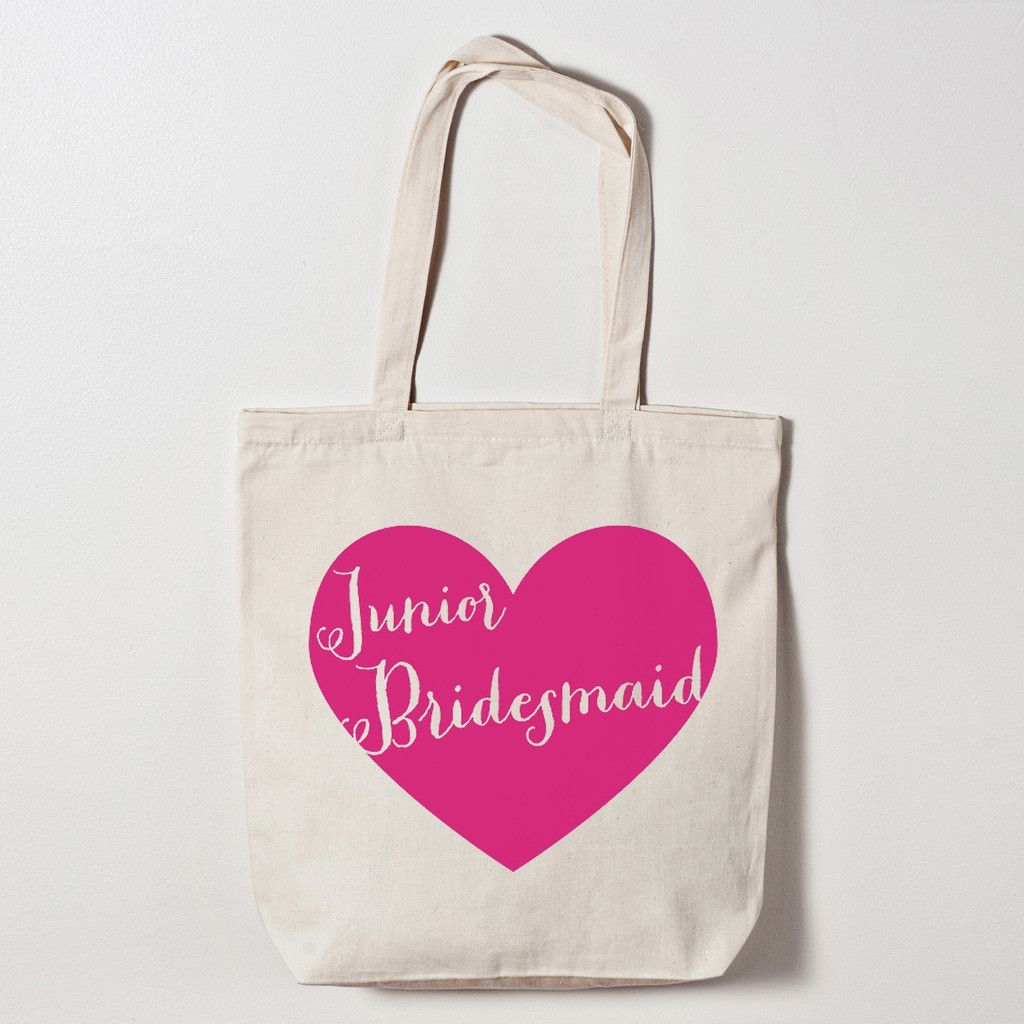 Junior Bridesmaid Heart Tote Bag | Bridal parties, Wedding and Weddings