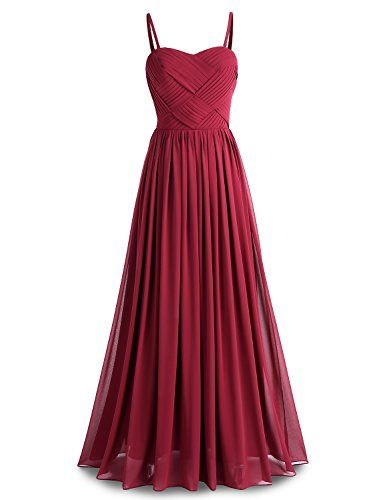 BeryLove Womens Pleats Bridesmaid Dress Long Chiffon Party Gown with Detachable Straps