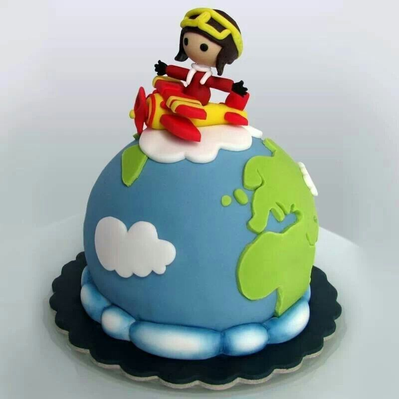 Earth plane children cake Pinterest Planes Cake and Children cake