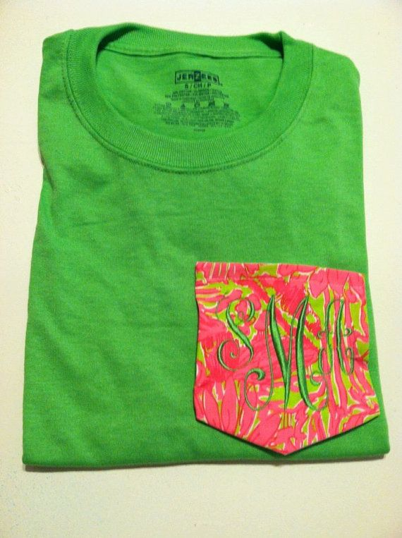 Short Sleeve Lilly Pulitzer  Pocket Tee Shirt with by DaintyBoTeek, $28.00