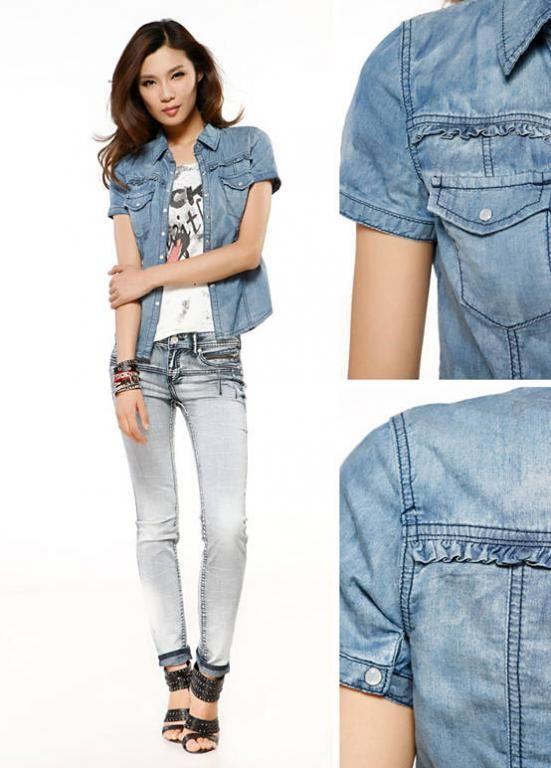 Japan Bluzka Koszula Jeans Krotki Rekaw Roz M 3182239900 Oficjalne Archiwum Allegro Denim Jacket Slim Denim Fashion