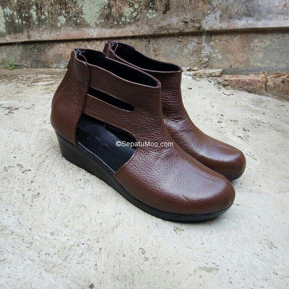 Boots Kulit Wanita Harga Murah Luna Coklat Kulit Wanita Sepatu