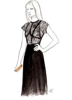 Design a lace dress illustration