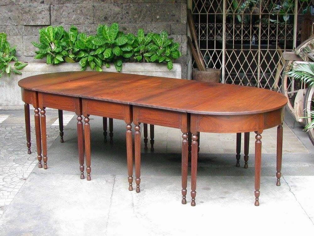 Sectional Table Pampanga 1900s Narra With Kamagong Inlays