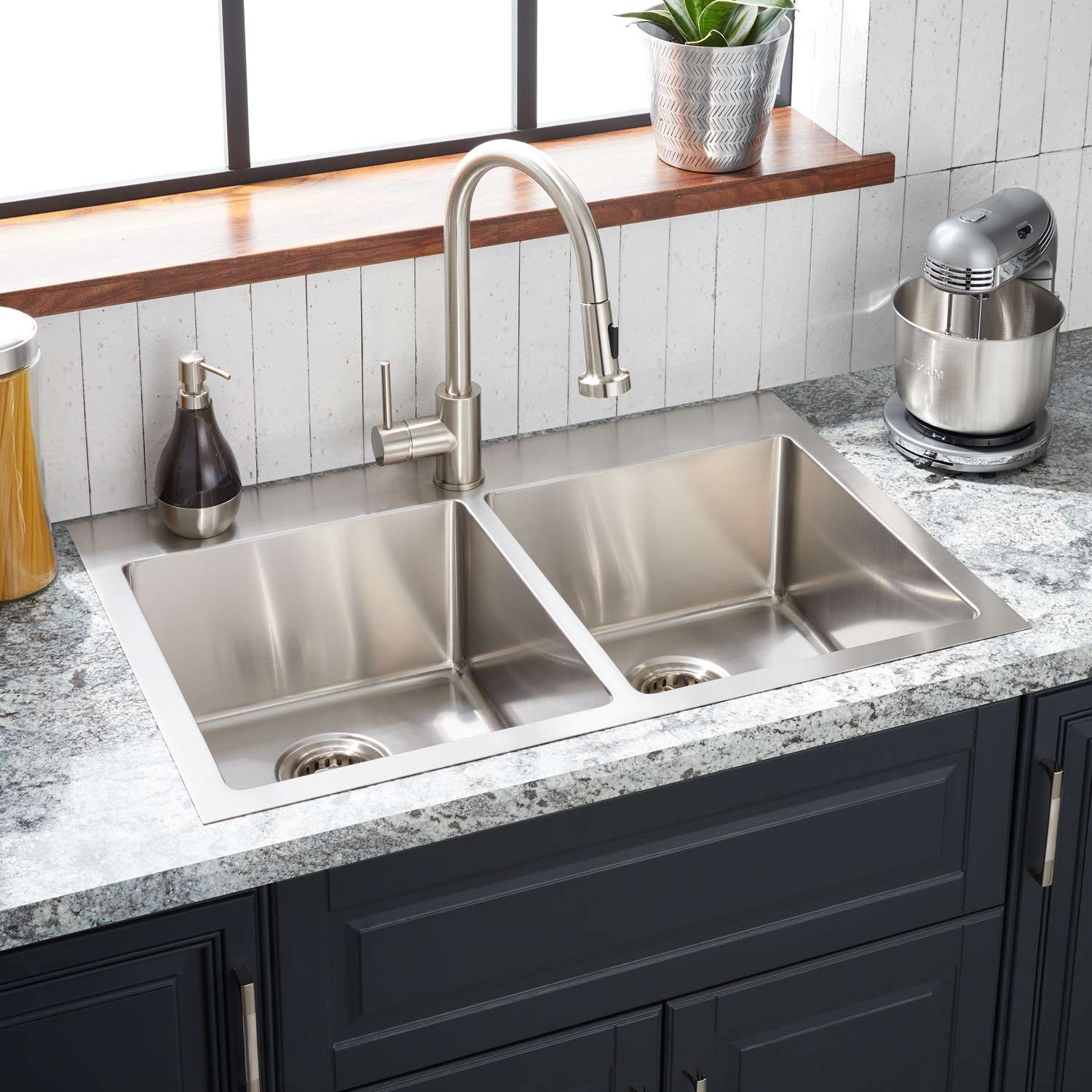 33 Ortega Double Bowl Stainless Steel Drop In Sink In Single Hole