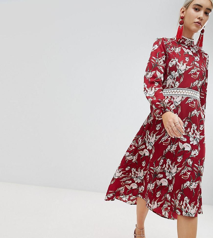 955918c898e2 nwt asos BOOHOO Red Floral Lace Trim Open Back Long Sleeve Midi Dress  Womens 10 #Boohoo #FitFlareDress #PartyCocktail