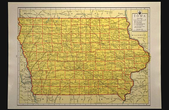 Colorful Yellow Vintage Iowa Map Of Iowa Wall Art Map Wall Decor - Vintage iowa map