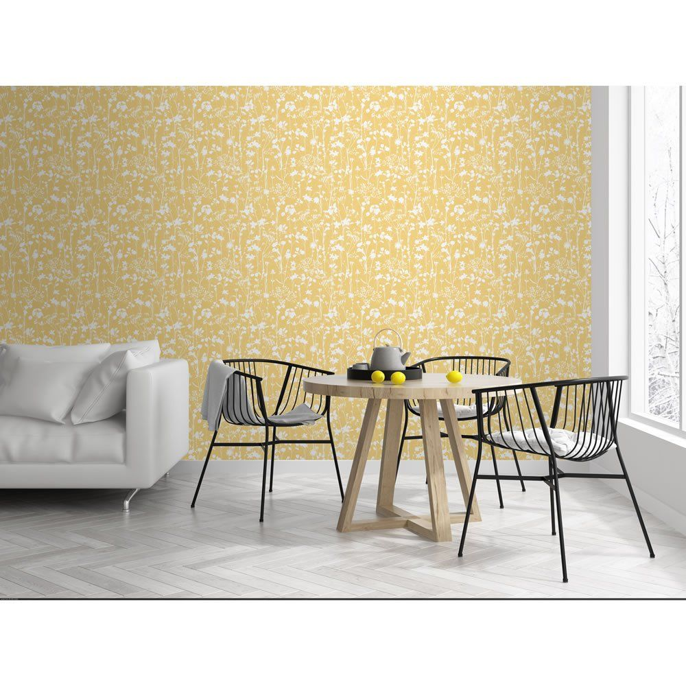 Wallpaper Country Sprigs Yellow in 2020 Wallpaper decor