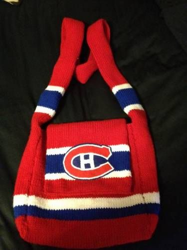 Jersey inspired hand knit Montreal Canadiens bag with embroidered felt logo. I love the stripes on the strap