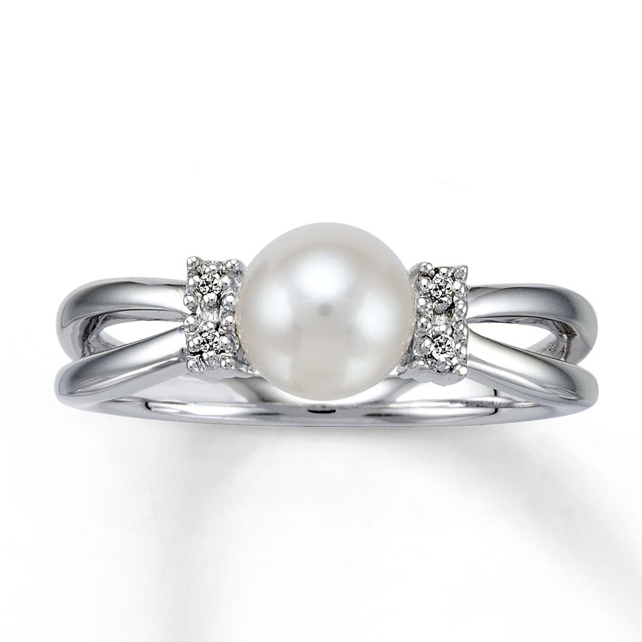 Diamond And Pearl Ring Pics  Kay  Cultured Pearl Ring With Diamond  Accents Sterling Silver