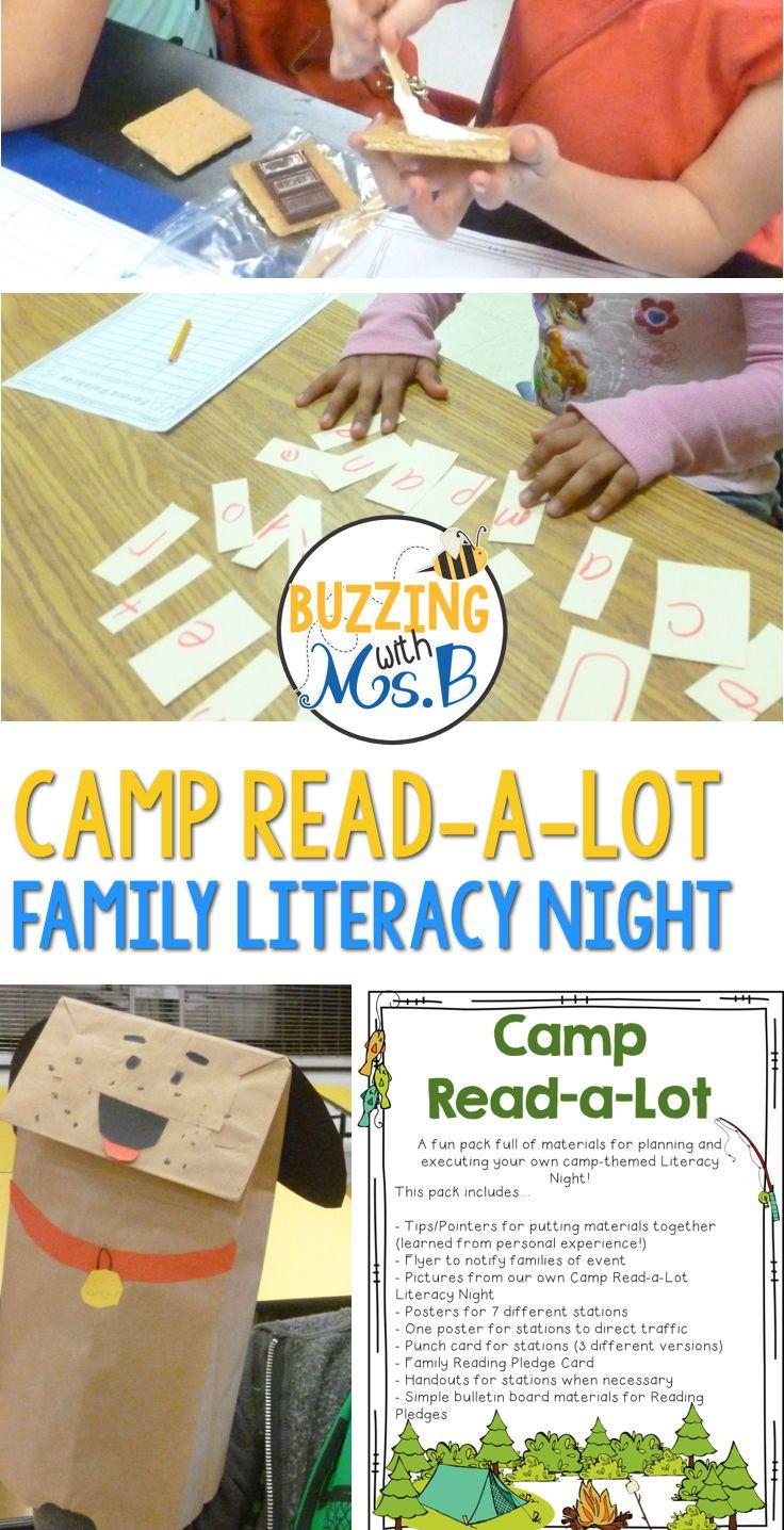 family literacy night materials: camping themed literacy night