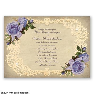 Antique Lace and Vintage Roses - Lapis Purple - Wedding Invitation at Invitations By David's Bridal