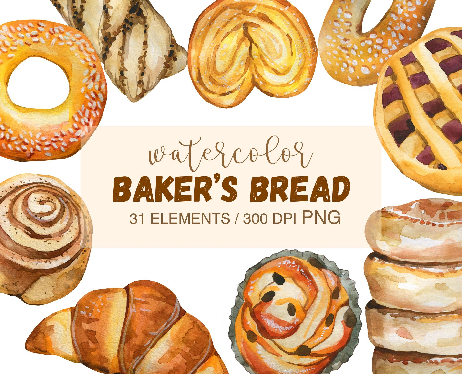 Watercolor Bread Clipart Png Watercolor Bakery Png Bread Etsy In 2021 Food Illustrations Food Bread Rolls