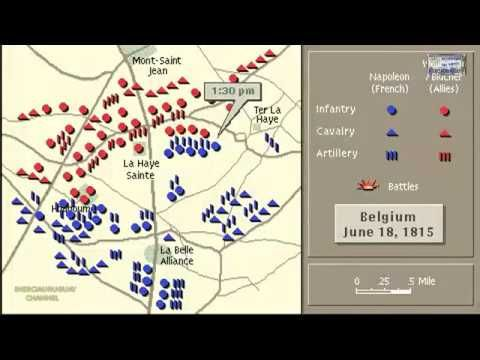 BATTL OF WATERLOO ANIMATION ON A MAP