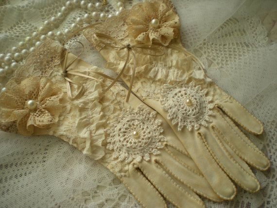 Shabby Vintage Chic Tea Stained Wedding Gloves by SincerelyRaven. , via Etsy.