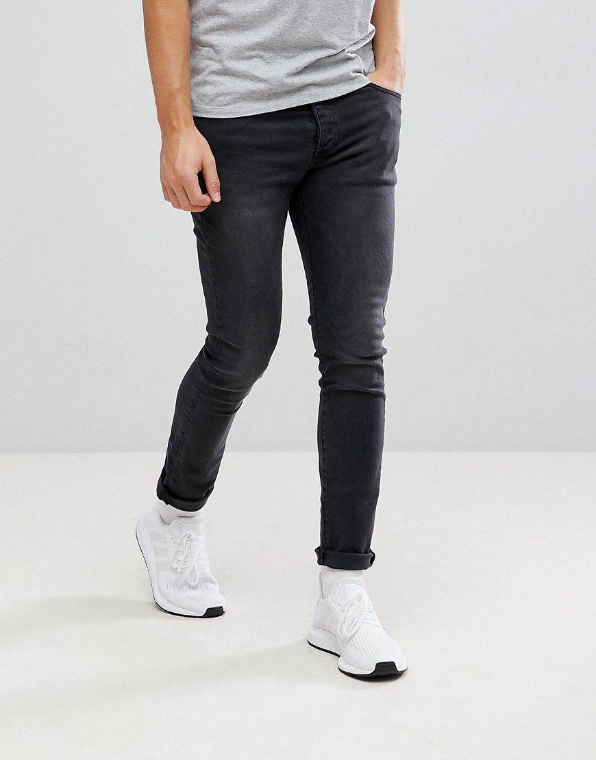7ee4e5a9eea Mennace Super Skinny Jeans in Black - Black Jeans Para Homem Com Corte Na  Bunda