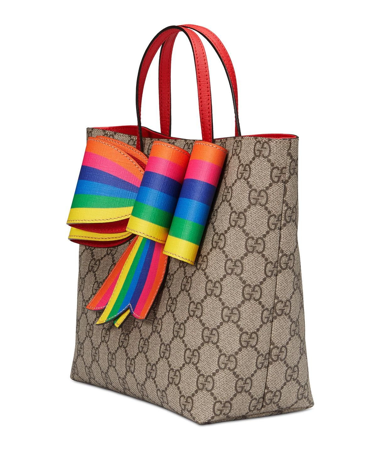 569487937641 Gucci GG Supreme Canvas Tote Bag w/ Rainbow Bow | Products | Canvas ...