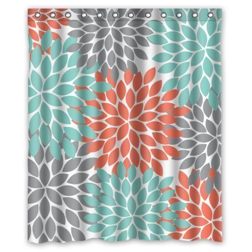Grey And Turquoise Shower Curtain. Orange Grey Green Dahlia floral Pattern Shower Curtains Polyester  Waterproof 60 x 72 Flower