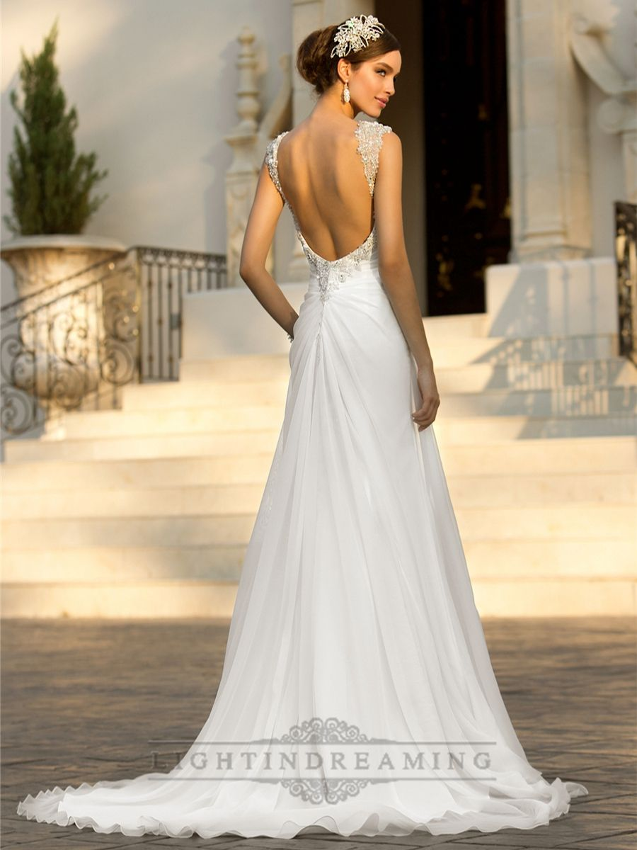 Trendy Beaded Cap Sleeves Sweetheart A line Simple Wedding Dresses with Low Open Back LightIndreaming