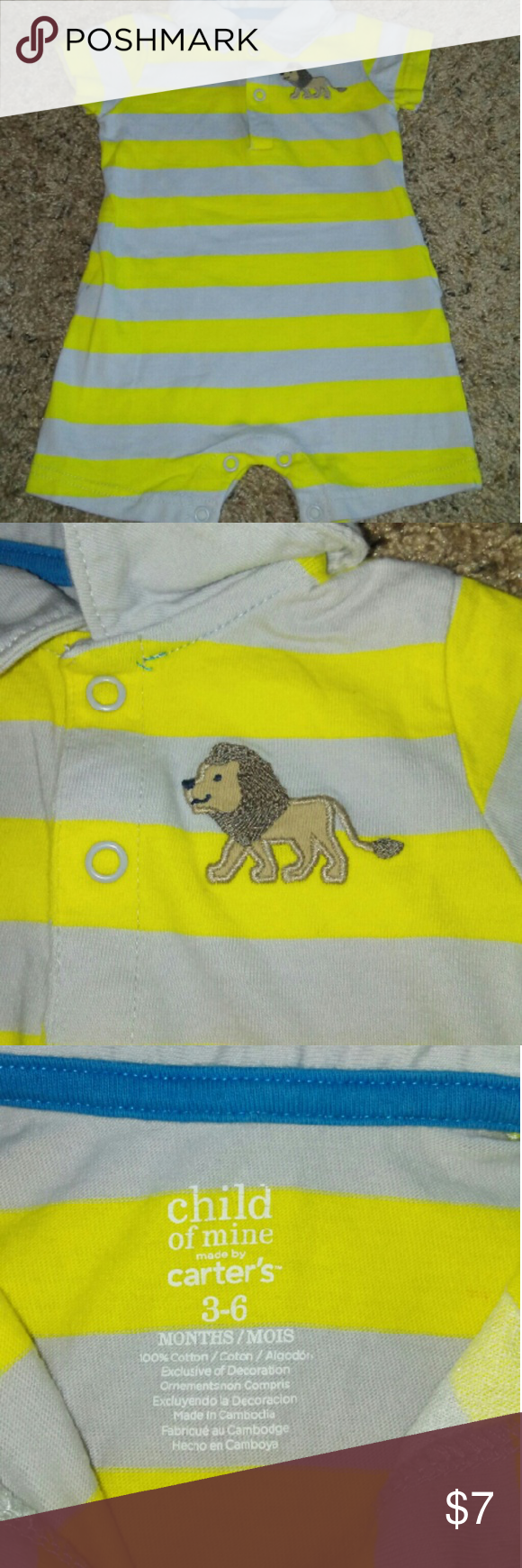 Baby Boy Clothes CLEAN, NO STAINS, one piece, romper with collar, short sleeve, shorts with lion patch, striped (gray and yellow) Carter's One Pieces