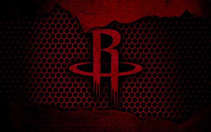 Download Wallpapers Houston Rockets 4k Logo Nba Basketball Western Conference Usa Grunge Metal Texture Besthqwallpapers Com Houston Rockets Basquete Houston