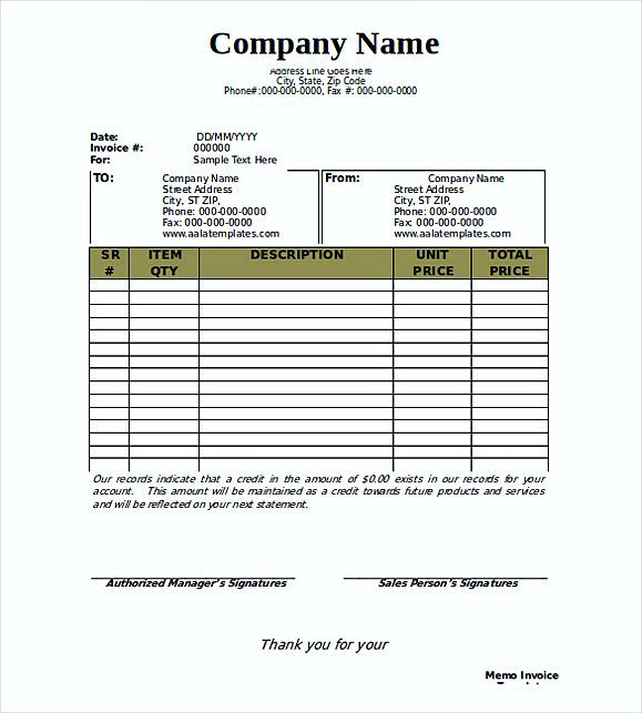 Free Memo Invoice templates , blank invoice template pdf , Why - blank invoice download
