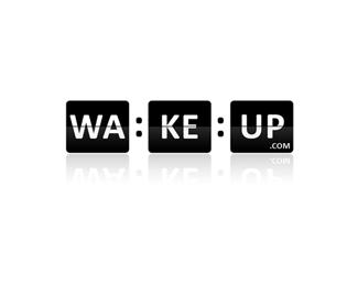 Double concept logo design: WakeUp