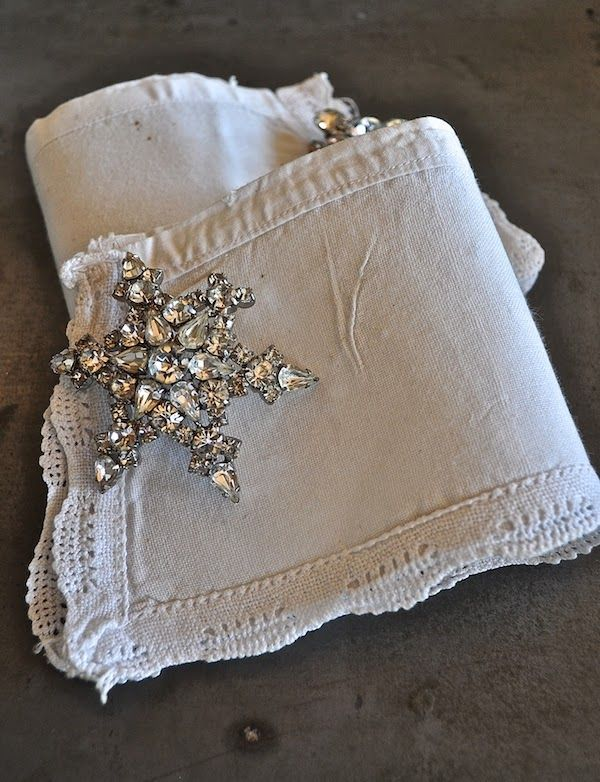 Casual Loves Elegance says... these are my favorite white vintage french linen cuffs I paired with heirloom rhinestone braoaches for a runway show.