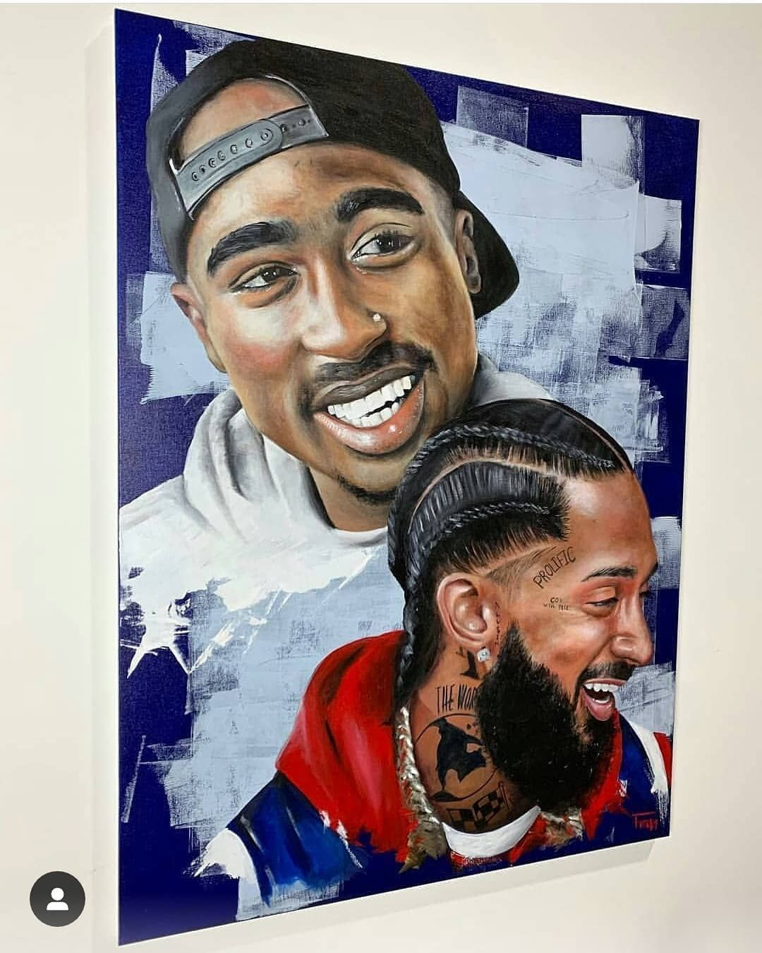 Image may contain 2 people Black art painting, Tupac