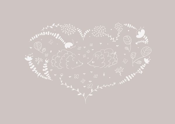 Hedgehogs in love Art Print #illustration