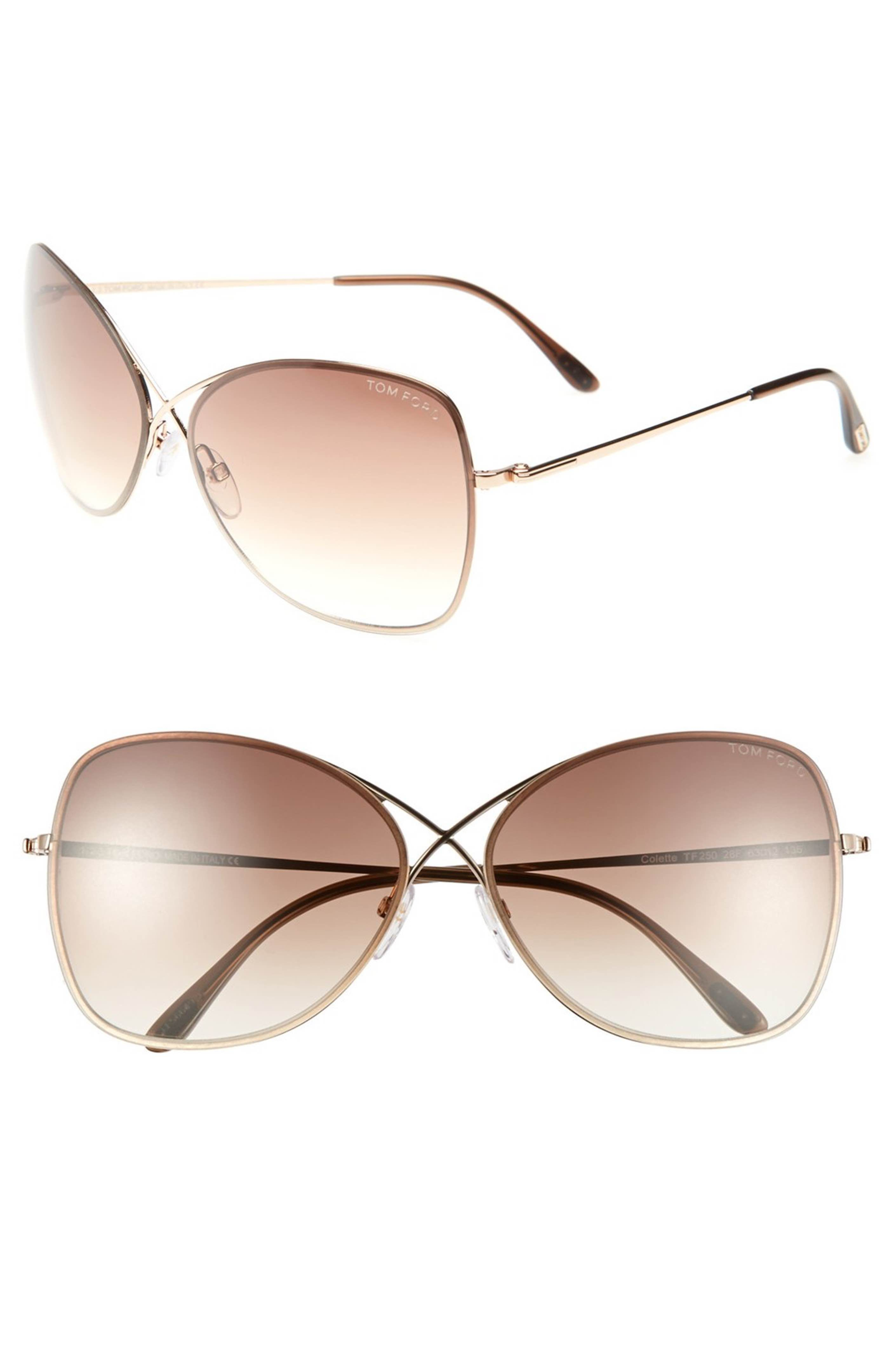 ee3da1265e86 Main Image - Tom Ford  Colette  63mm Oversized Sunglasses... shiny brown  gradient