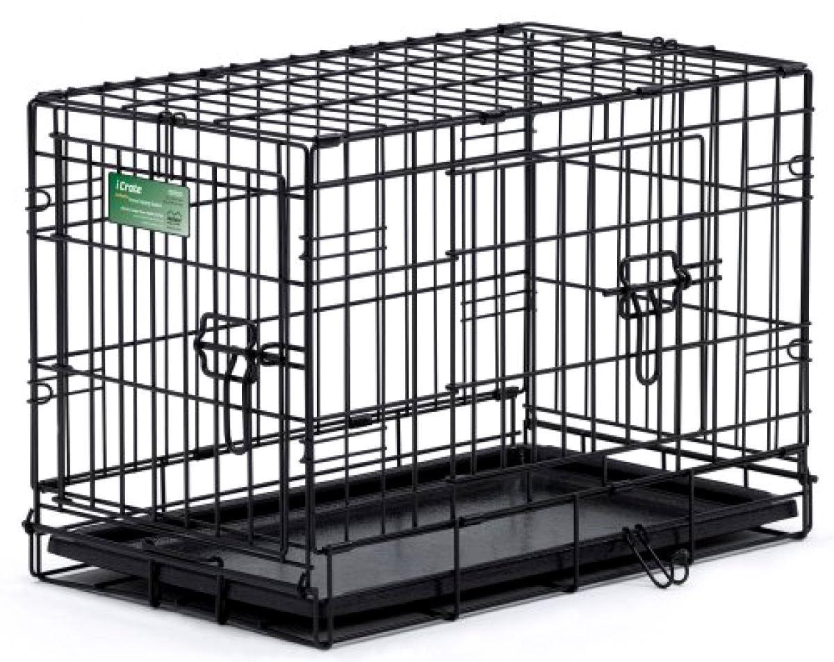 Cage Pet Dog Crate Kennel Cat Folding Tray Metal Pen Door Black