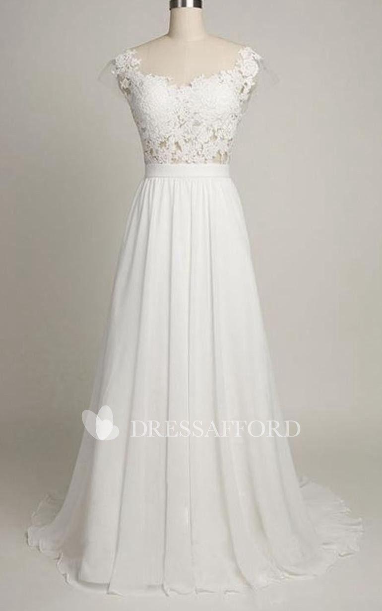 3/4 length lace wedding dress  Cap Chiffon Length ALine Lace Backless Dress  Hayes wedding