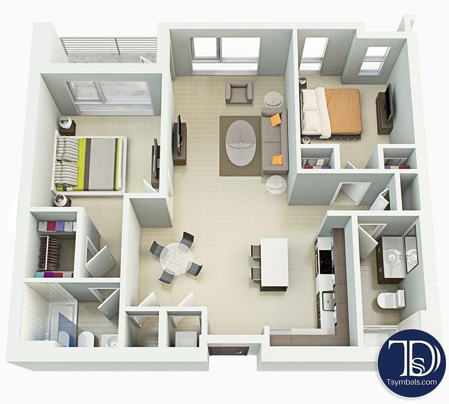 3d Floor Plans Renderings Visualizations Tsymbals Design Small Apartment Plans Floor Plans 2 Bedroom Apartment Floor Plan