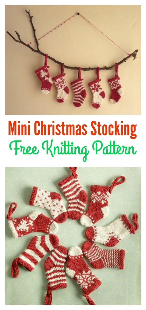 Mini Christmas Stocking Free Knitting Pattern Knit Patterns