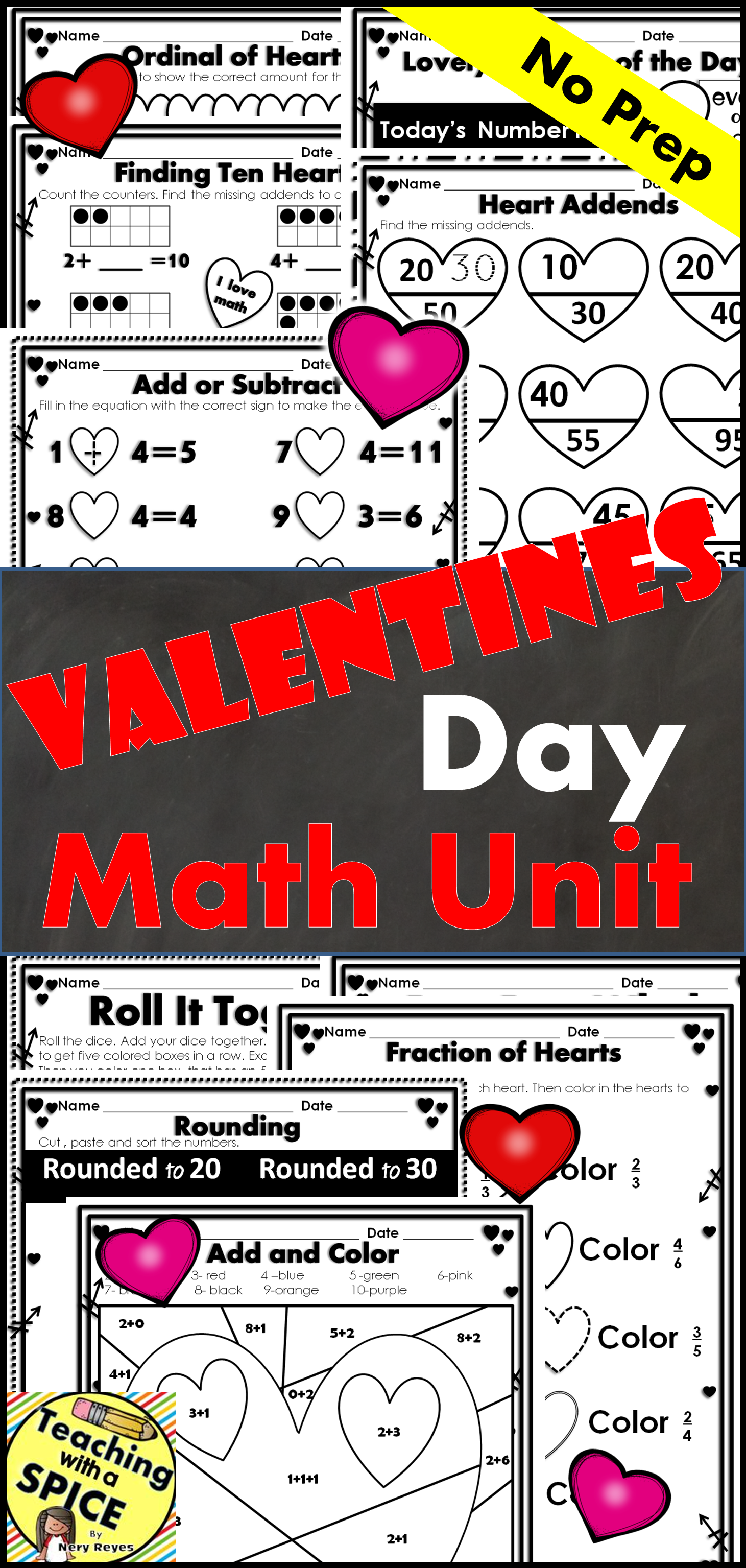 Valentine S Day Math 34 Pages With Images
