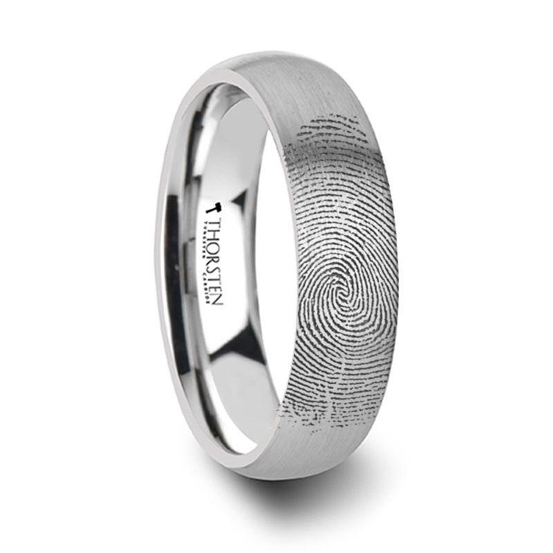 Fingerprint Ring Engraved Domed Tungsten Brushed 4mm 8mm 150