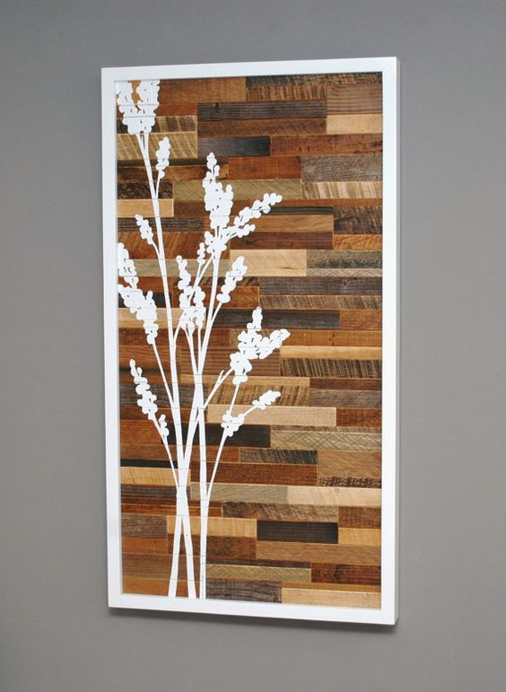 I like this idea for reclaimed stained painted wood we could have color