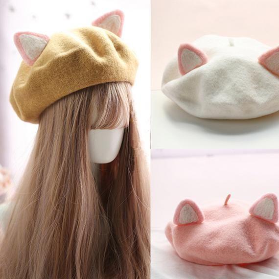 Cute Wool Hat with Cat Ear,Design Hats,Winter Autumn Beret Cap,Handmande Hat,Retro Accessory
