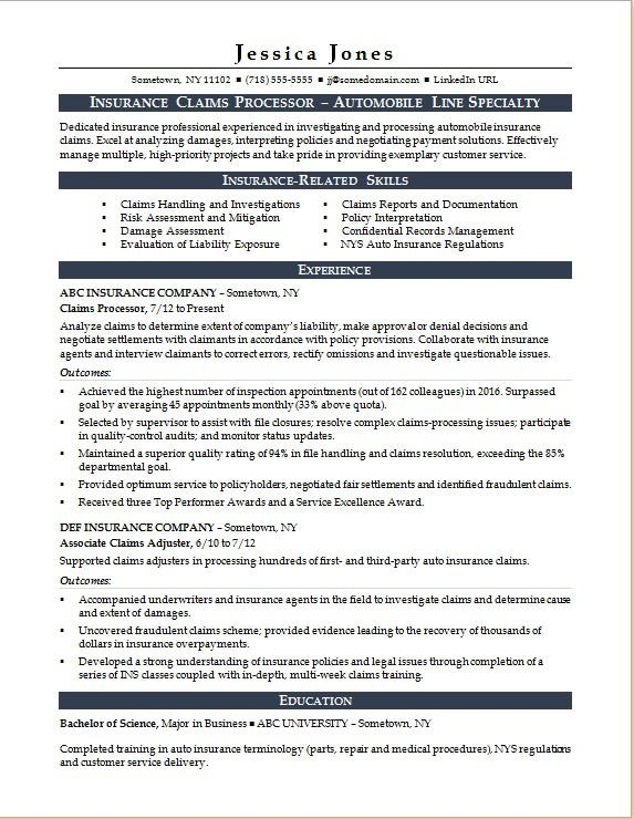 Sample Resume For An Insurance Claims Processor Job Resume