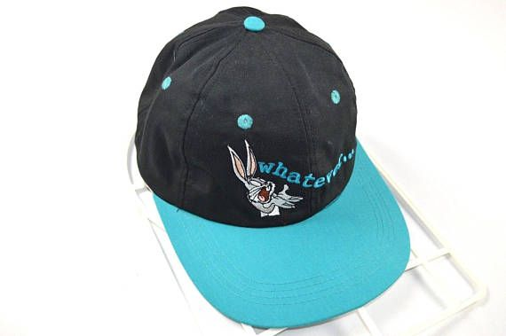 a8a6a76cc62 90s Looney Tunes Bugs Bunny Whatever Spell Out Strapback Hat, Vintage  Looney Tunes Hat,
